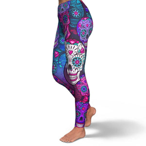 Sugar Skull Purple Teal Pattern Print Women's Yoga Pants GearFrost