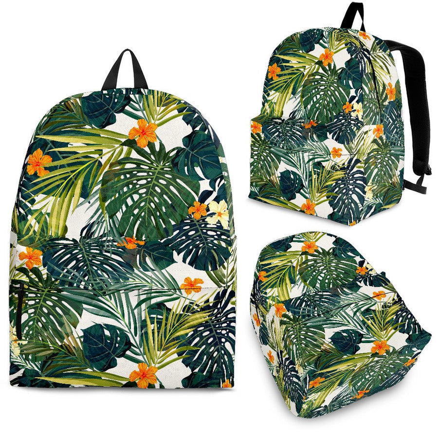 Summer Hawaiian Leaves Pattern Print Backpack GearFrost