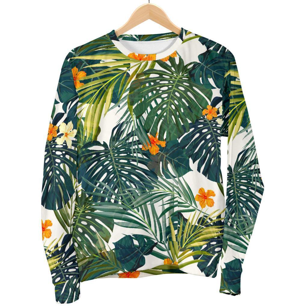 Summer Hawaiian Leaves Pattern Print Men's Crewneck Sweatshirt GearFrost