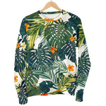 Summer Hawaiian Leaves Pattern Print Women's Crewneck Sweatshirt GearFrost
