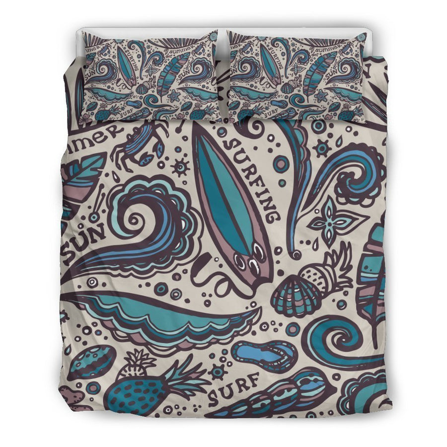 Summer Surfing Pattern Print Duvet Cover Bedding Set GearFrost