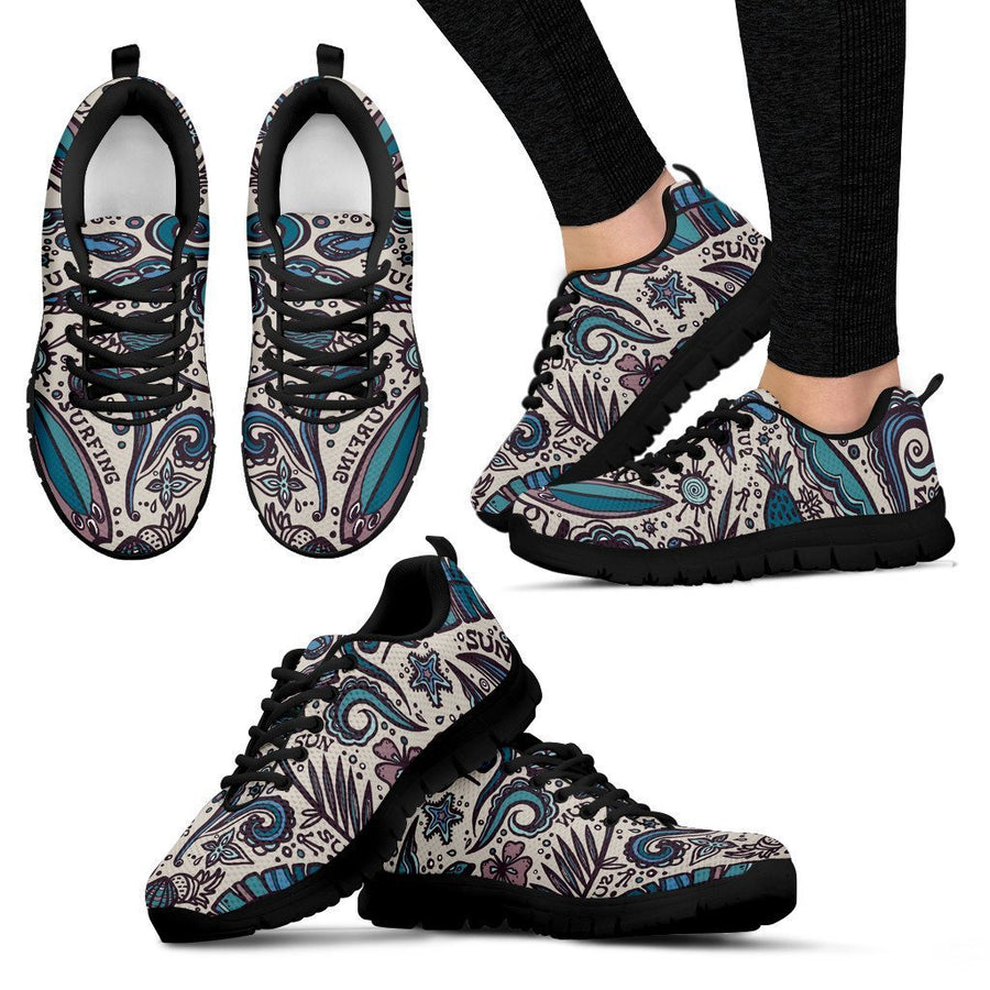 Summer Surfing Pattern Print Women's Sneakers GearFrost