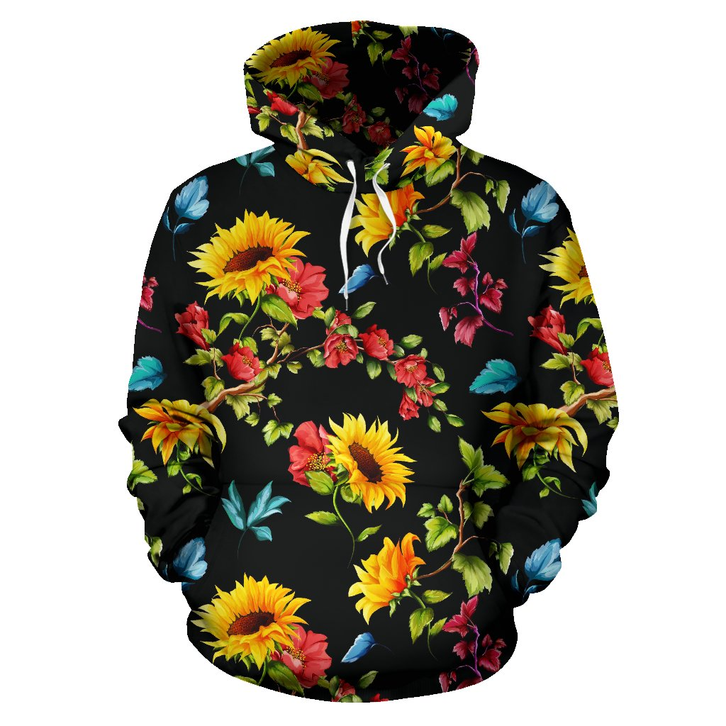 Sunflower Floral Pattern Print Pullover Hoodie GearFrost