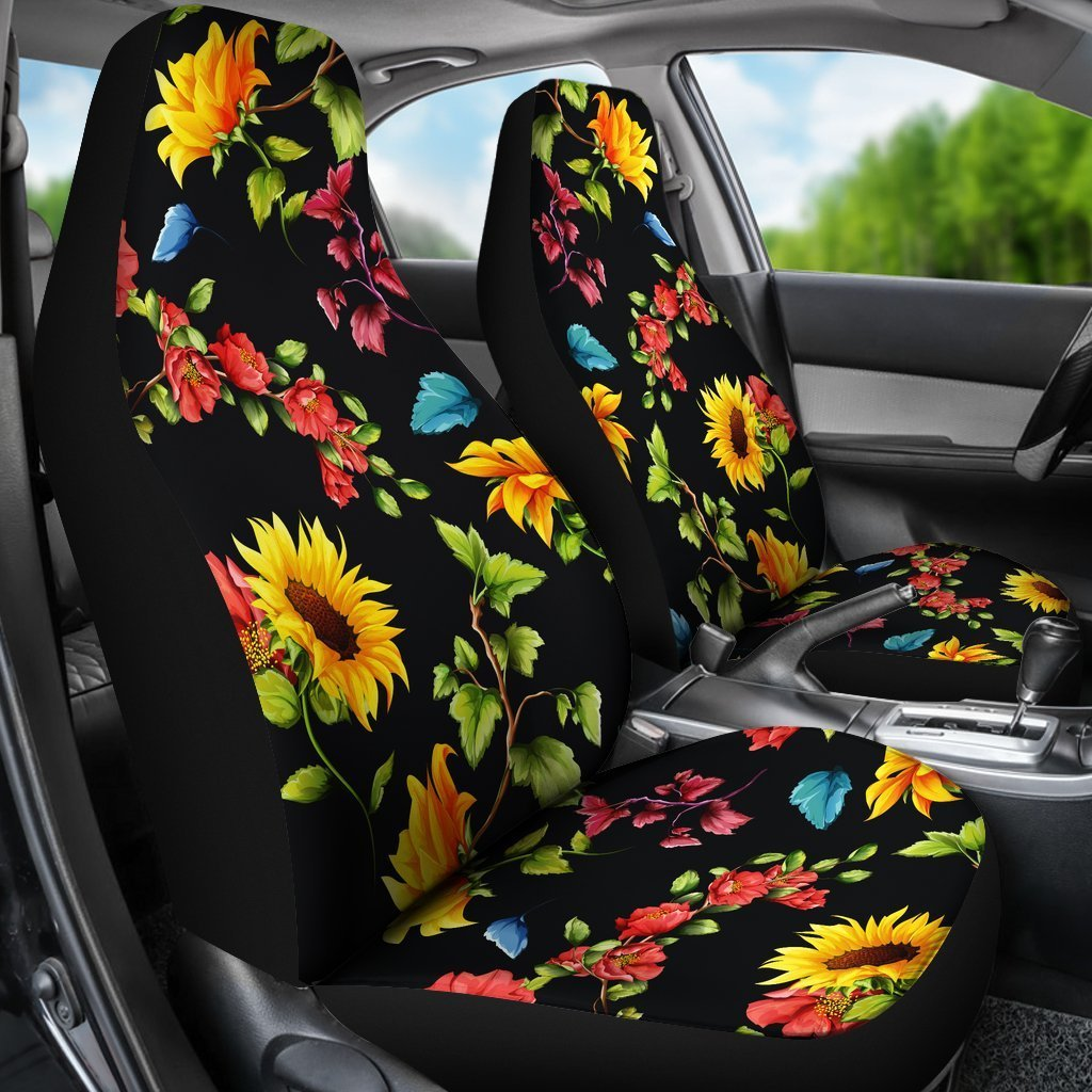 Super Sunflower Floral Pattern Print Universal Fit Car Seat Covers Andrewgaddart Wooden Chair Designs For Living Room Andrewgaddartcom