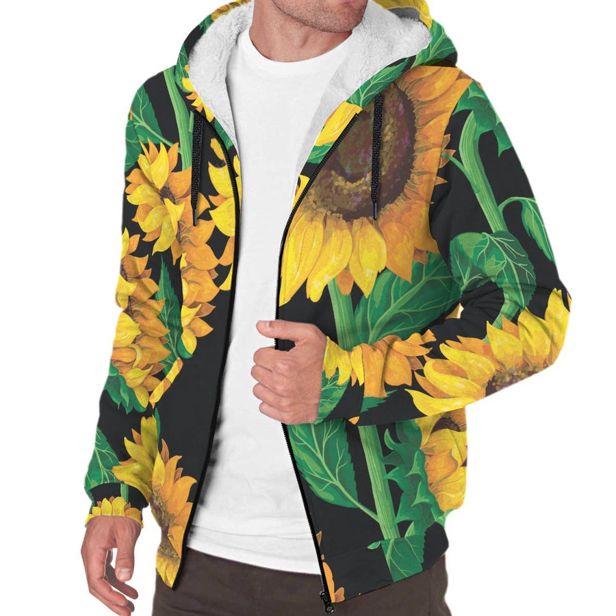 Sunflower Pattern Print Sherpa Lined Fleece Hoodie GearFrost