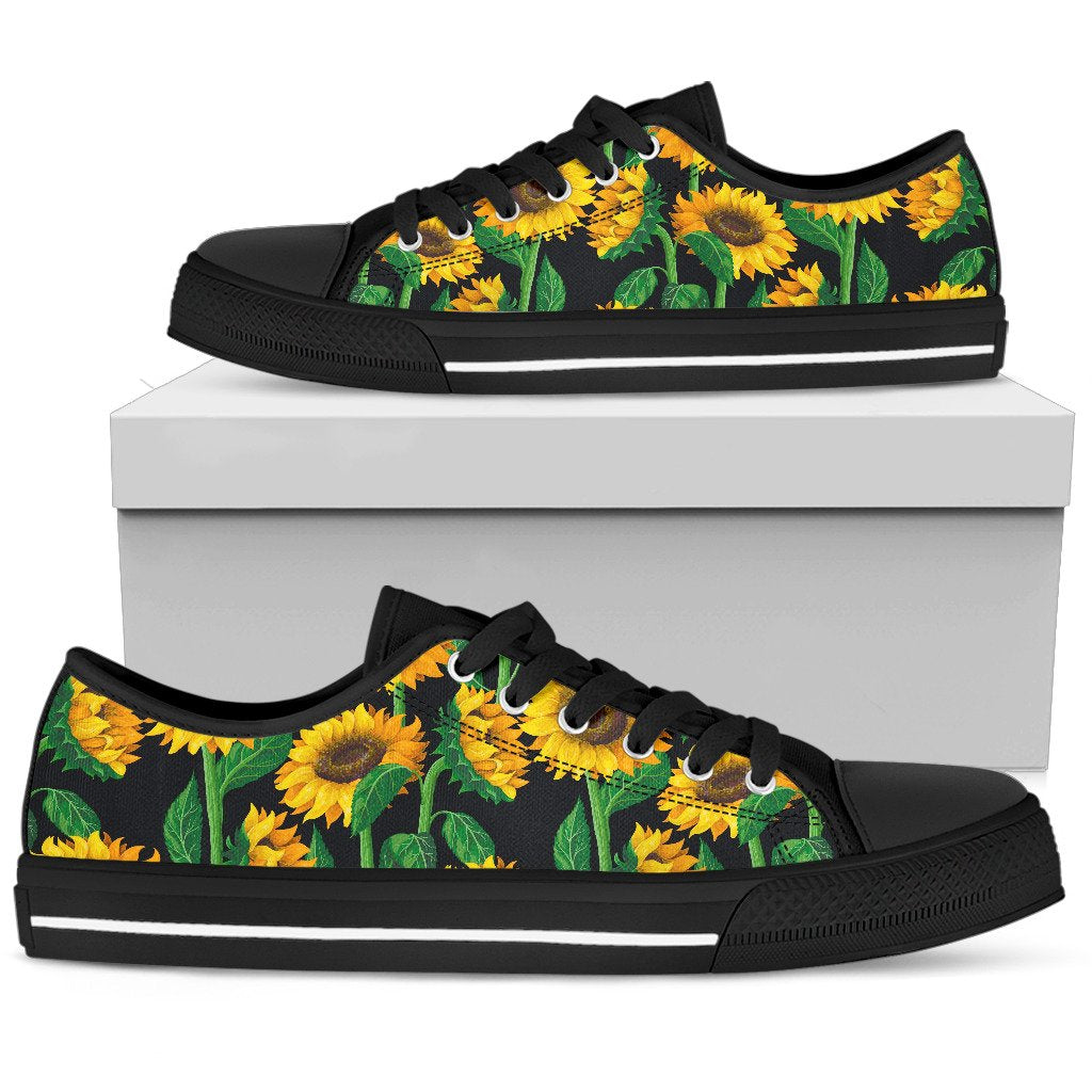 Sunflower Pattern Print Women's Low Top Shoes GearFrost
