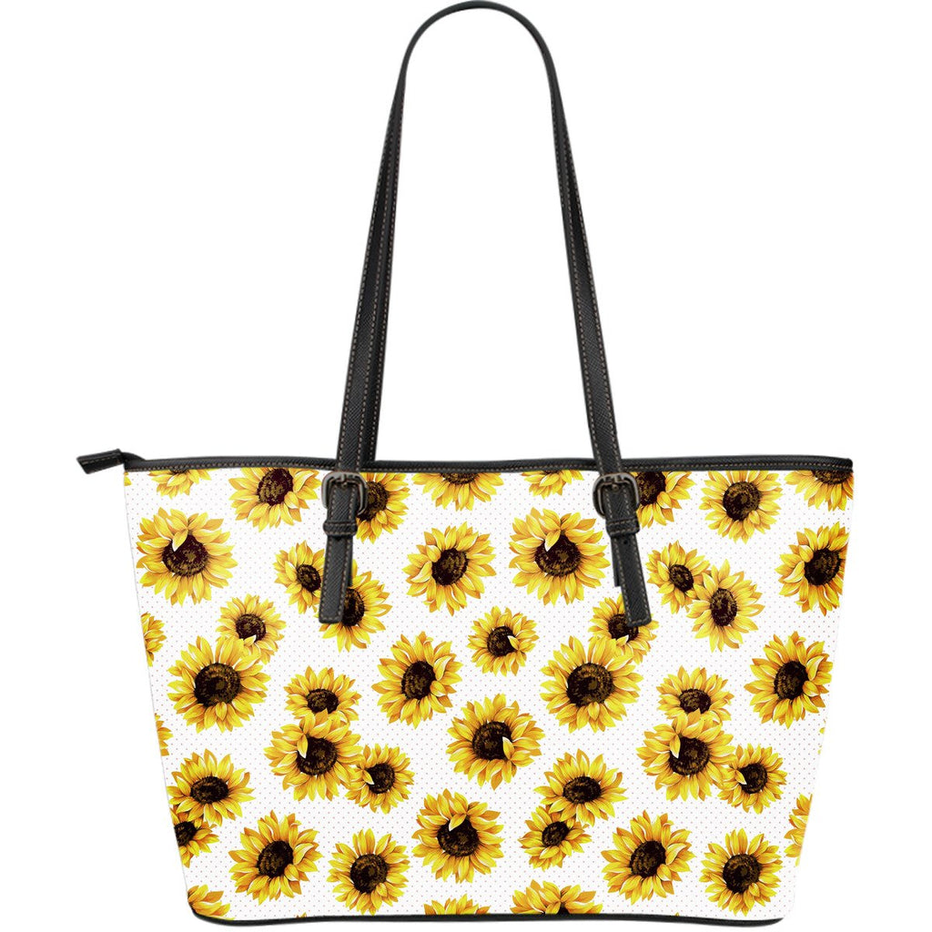 Sunflower Polka Dot Pattern Print Leather Tote Bag GearFrost