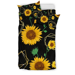 Sunflower Polygonal Pattern Print Duvet Cover Bedding Set GearFrost