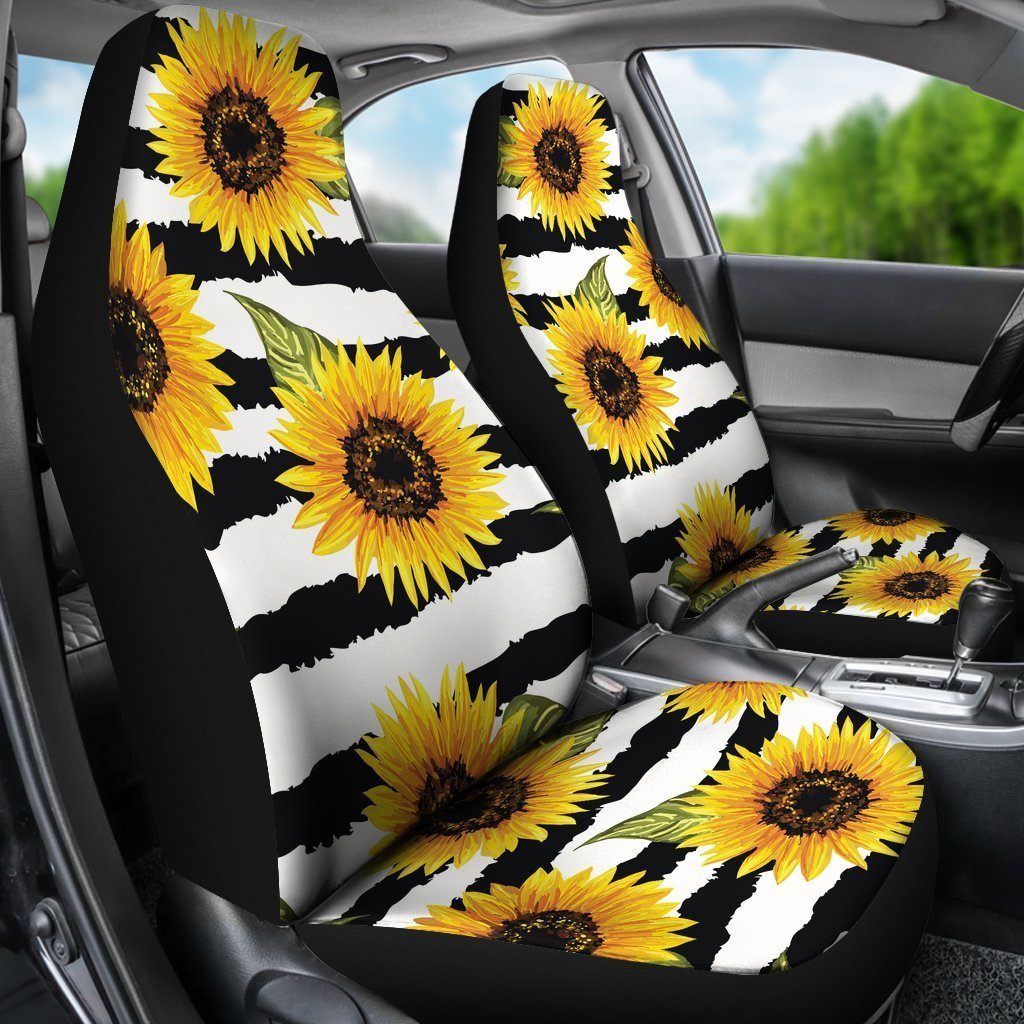 Outstanding Sunflower Striped Pattern Print Universal Fit Car Seat Covers Andrewgaddart Wooden Chair Designs For Living Room Andrewgaddartcom
