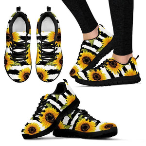 Sunflower Striped Pattern Print Women's Sneakers GearFrost
