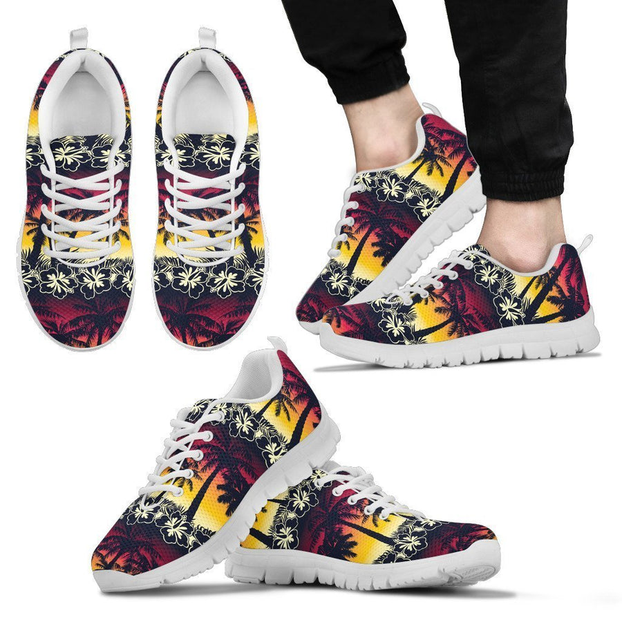 Sunset Hibiscus Palm Tree Pattern Print Men's Sneakers GearFrost
