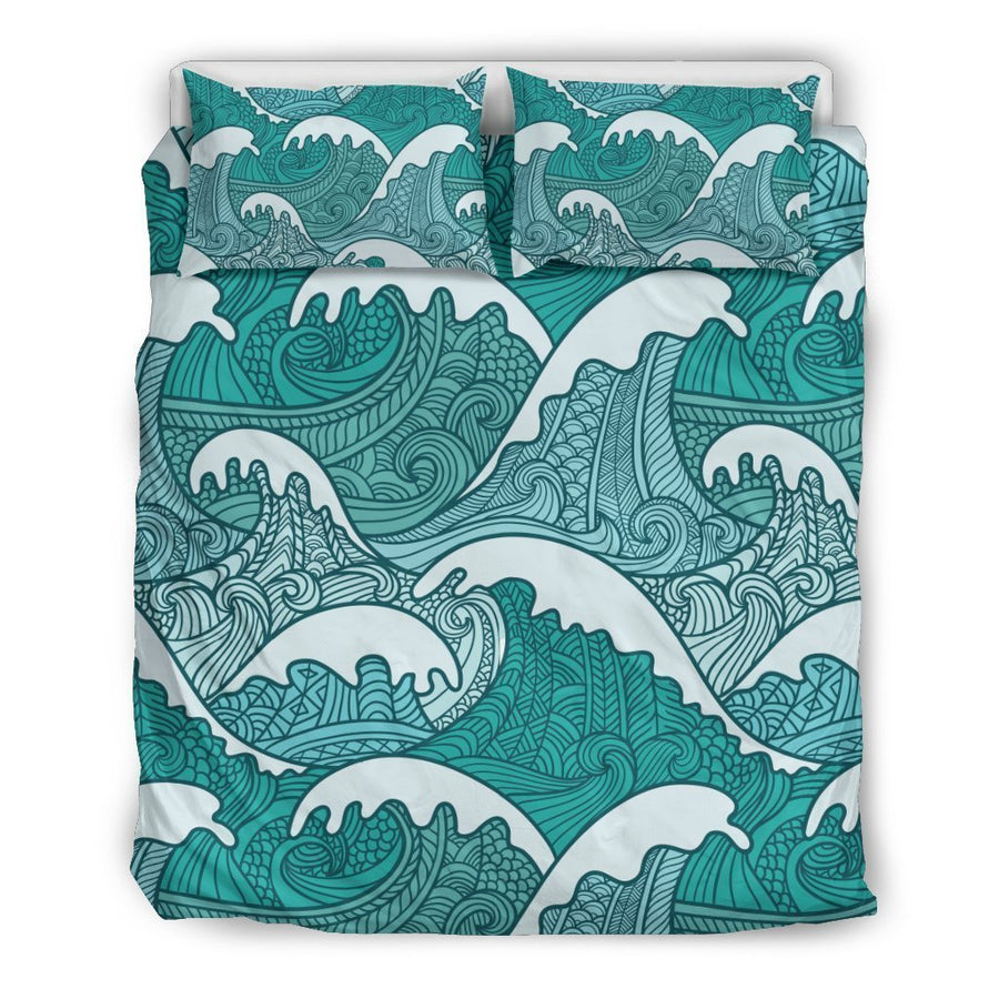 Surfing Wave Pattern Print Duvet Cover Bedding Set GearFrost