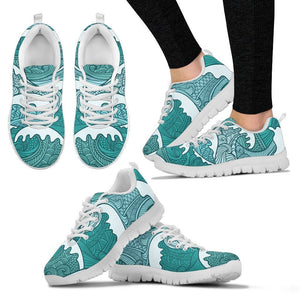 Surfing Wave Pattern Print Women's Sneakers GearFrost