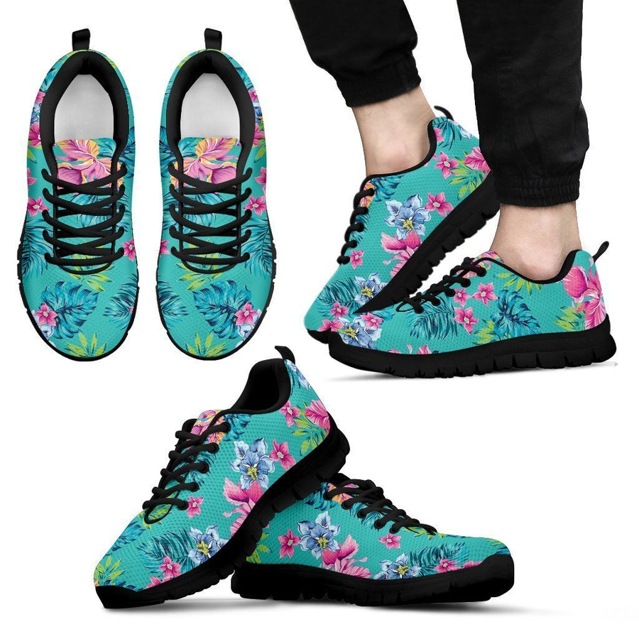 Teal Aloha Tropical Pattern Print Men's Sneakers GearFrost