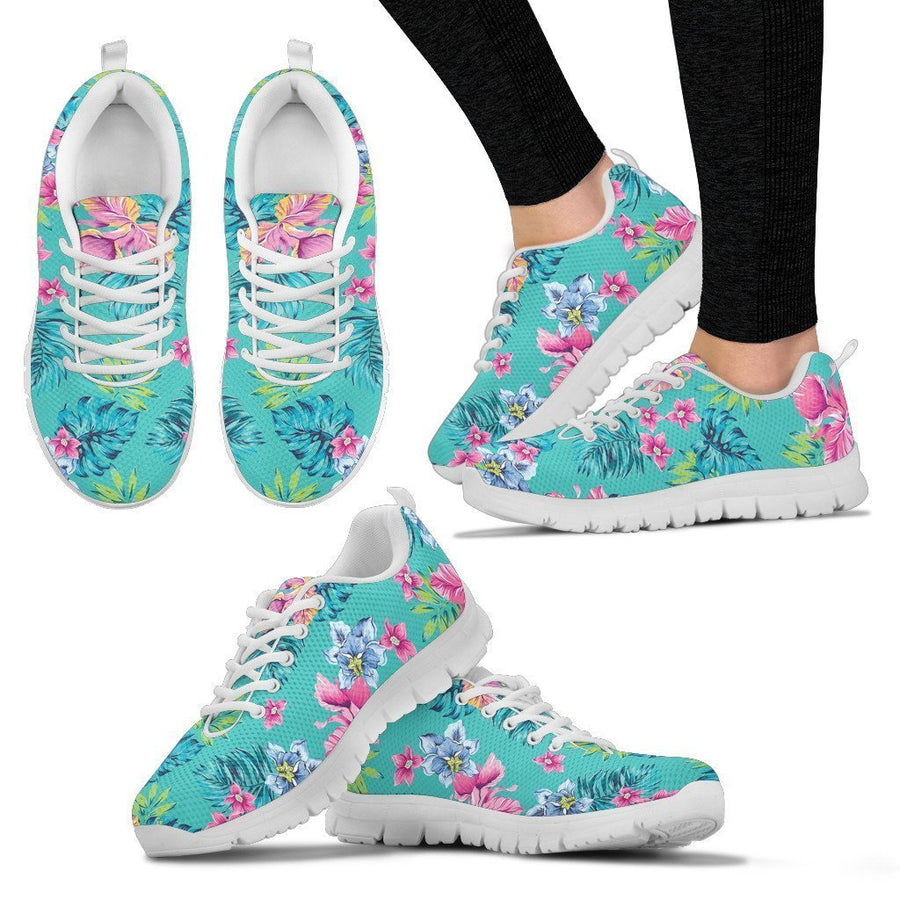 Teal Aloha Tropical Pattern Print Women's Sneakers GearFrost