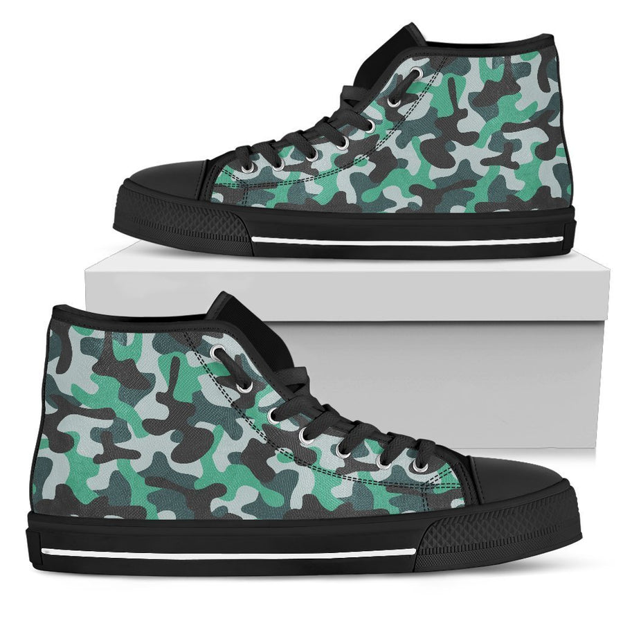 Teal And Black Camouflage Print Men's High Top Shoes GearFrost