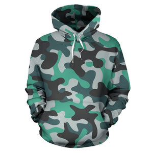 Teal And Black Camouflage Print Pullover Hoodie GearFrost