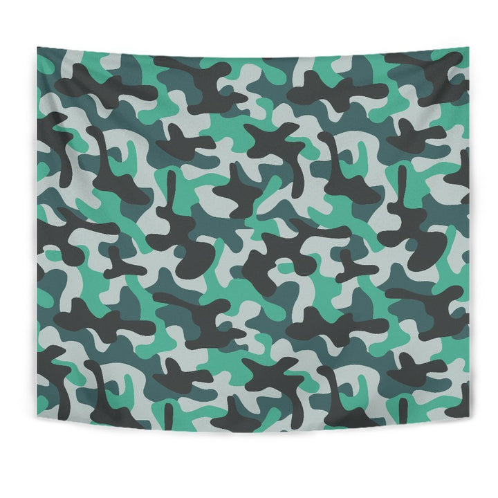 Teal And Black Camouflage Print Wall Tapestry GearFrost
