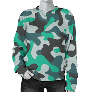Teal And Black Camouflage Print Women's Crewneck Sweatshirt GearFrost