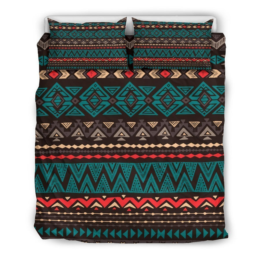 Teal And Brown Aztec Pattern Print Duvet Cover Bedding Set GearFrost