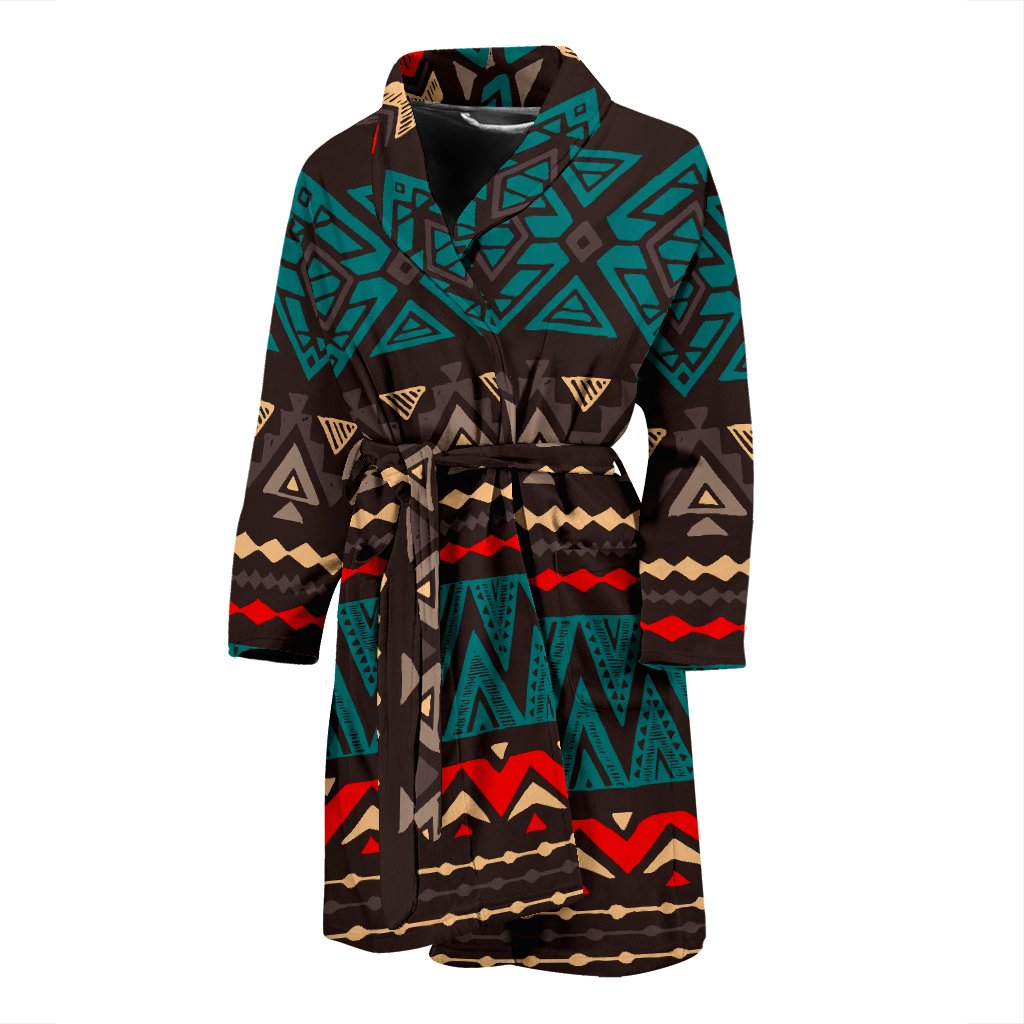 Teal And Brown Aztec Pattern Print Men's Bathrobe GearFrost