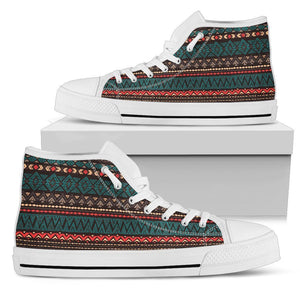 Teal And Brown Aztec Pattern Print Men's High Top Shoes GearFrost