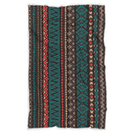 Teal And Brown Aztec Pattern Print Sherpa Blanket GearFrost