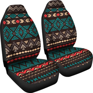 Teal And Brown Aztec Pattern Print Universal Fit Car Seat Covers GearFrost