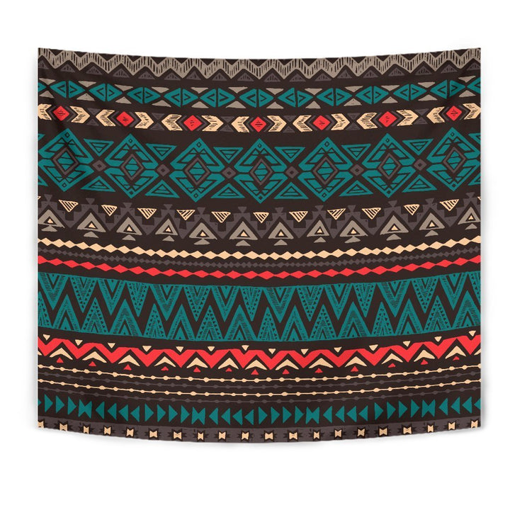 Teal And Brown Aztec Pattern Print Wall Tapestry GearFrost
