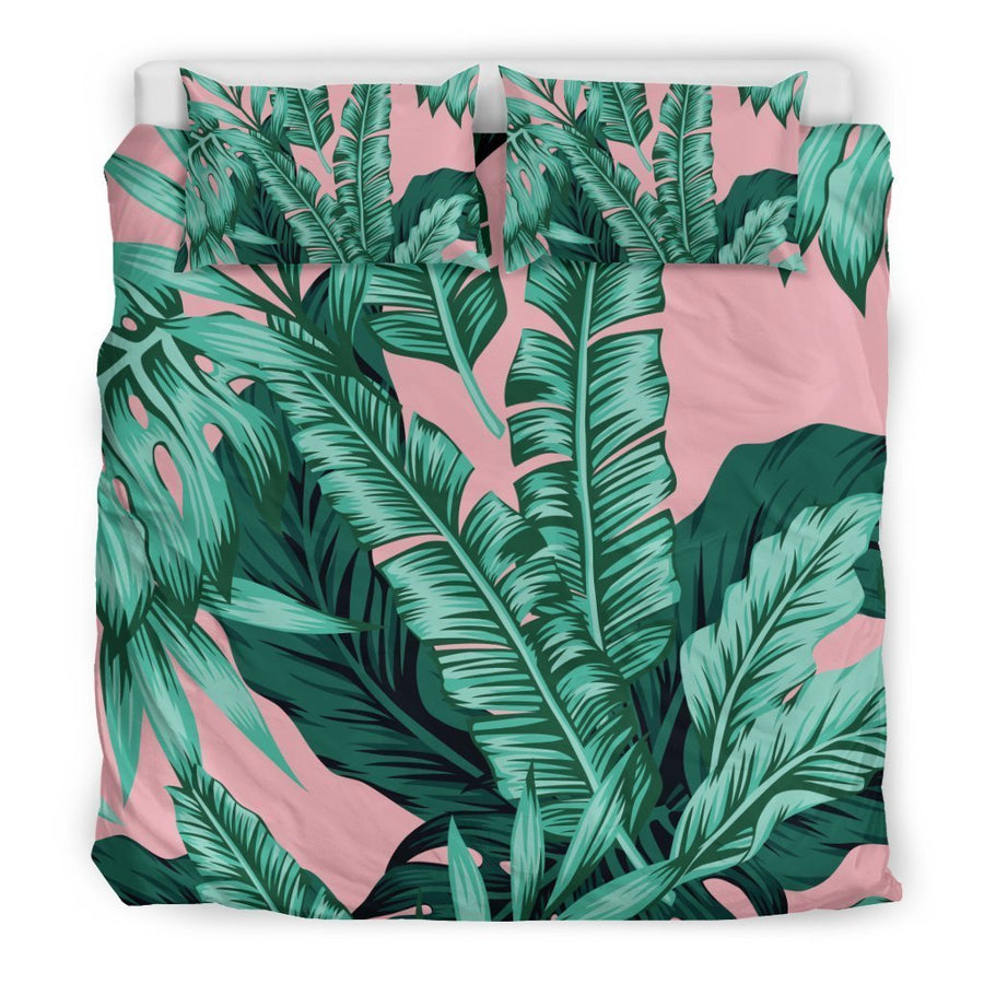 Teal Banana Leaves Pattern Print Duvet Cover Bedding Set GearFrost