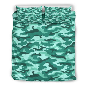 Teal Camouflage Print Duvet Cover Bedding Set GearFrost