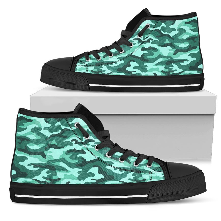 Teal Camouflage Print Men's High Top Shoes GearFrost