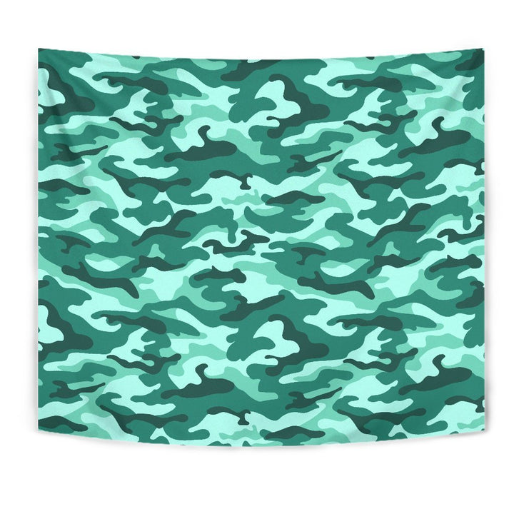 Teal Camouflage Print Wall Tapestry GearFrost