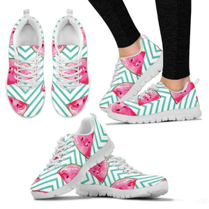Teal Chevron Watermelon Pattern Print Women's Sneakers GearFrost