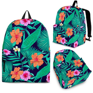 Teal Hawaiian Leaf Flower Pattern Print Backpack GearFrost