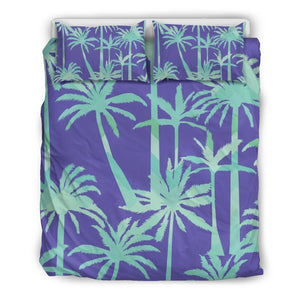 Teal Palm Tree Pattern Print Duvet Cover Bedding Set GearFrost