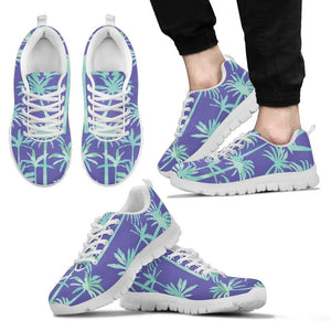 Teal Palm Tree Pattern Print Men's Sneakers GearFrost