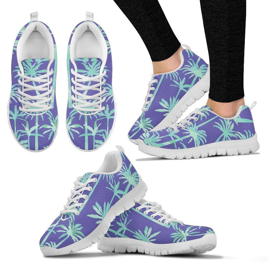Teal Palm Tree Pattern Print Women's Sneakers GearFrost