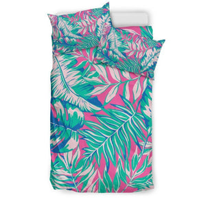 Teal Pink Blossom Tropical Pattern Print Duvet Cover Bedding Set GearFrost