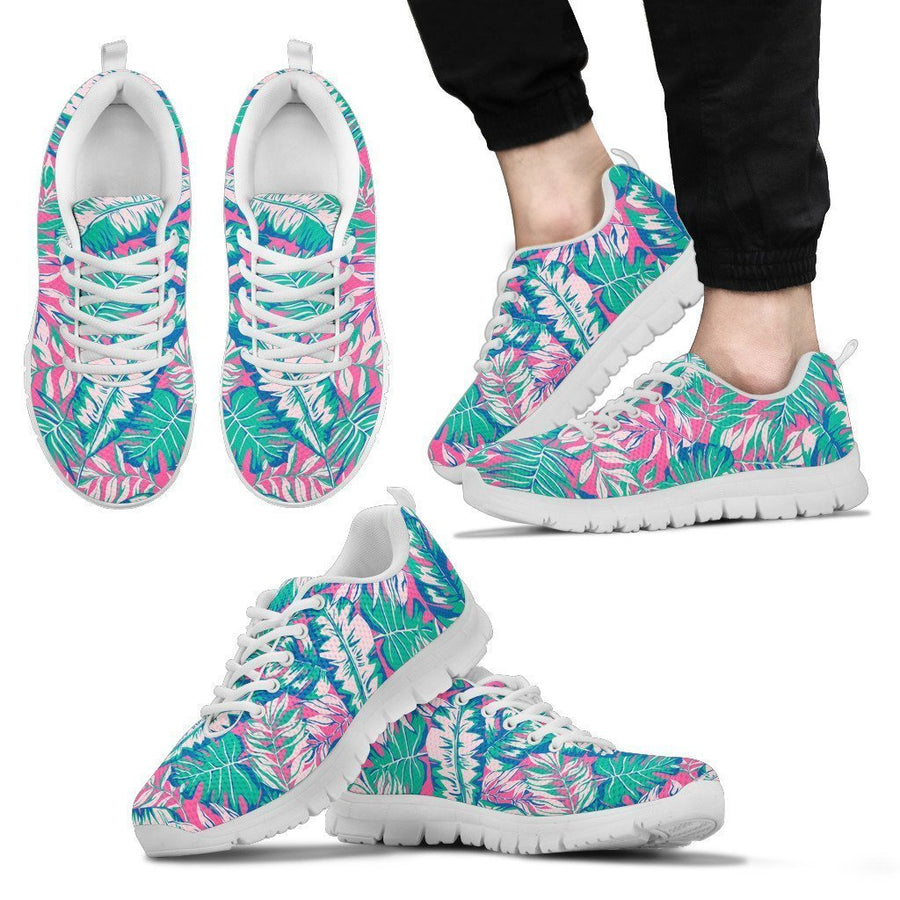 Teal Pink Blossom Tropical Pattern Print Men's Sneakers GearFrost