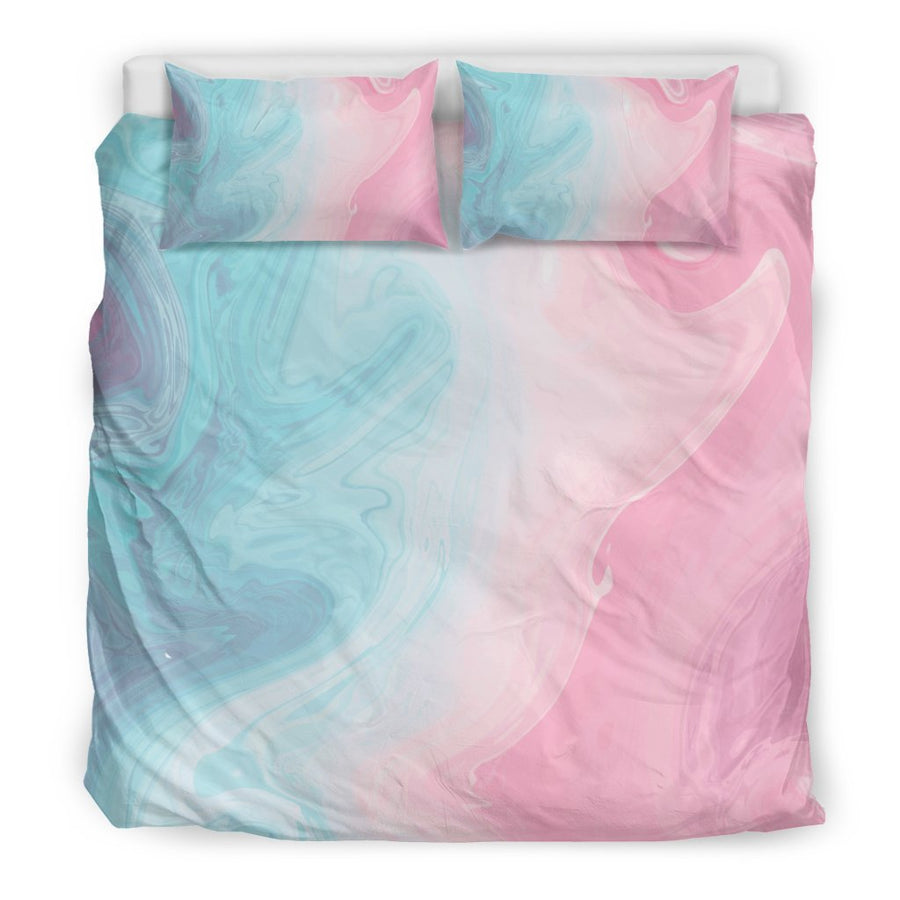 Teal Pink Liquid Marble Print Duvet Cover Bedding Set GearFrost
