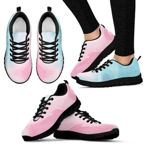Teal Pink Liquid Marble Print Women's Sneakers GearFrost