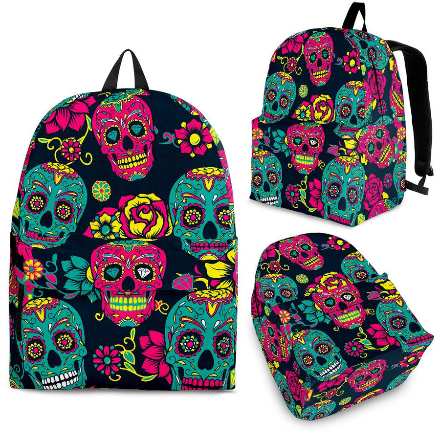 Teal Pink Sugar Skull Pattern Print Backpack GearFrost