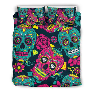 Teal Pink Sugar Skull Pattern Print Duvet Cover Bedding Set GearFrost