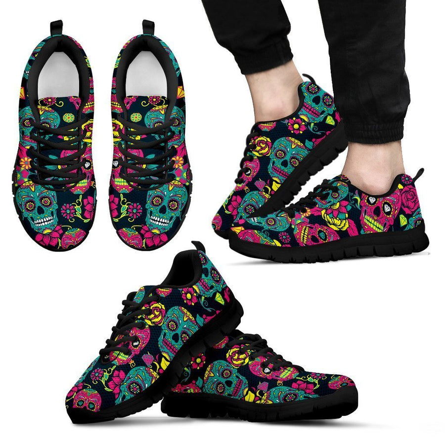 Teal Pink Sugar Skull Pattern Print Men's Sneakers GearFrost