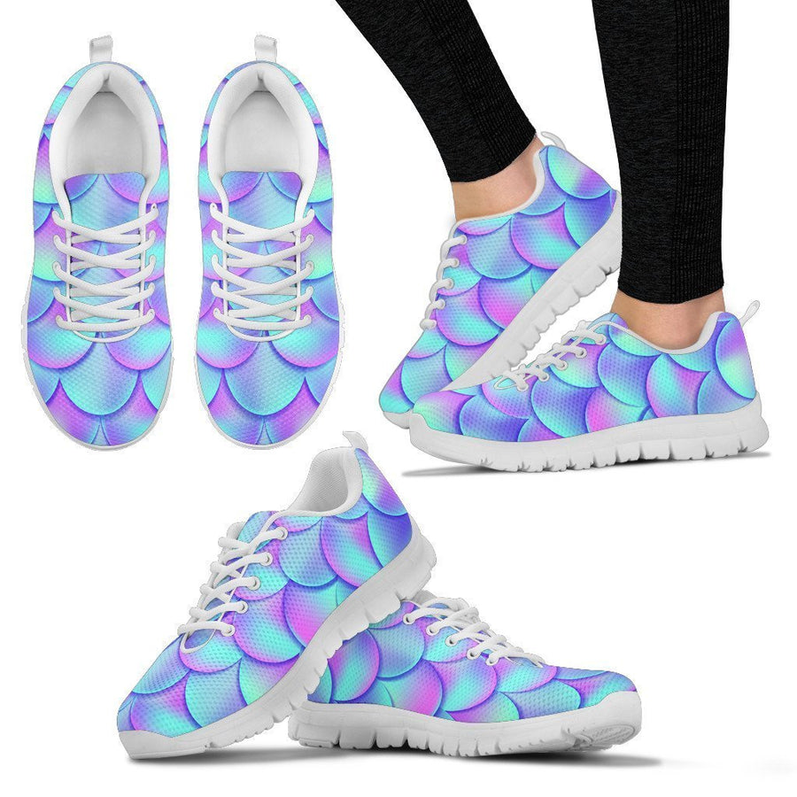 Teal Purple Mermaid Scales Pattern Print Women's Sneakers GearFrost