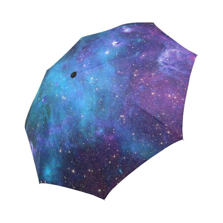 Teal Purple Stardust Galaxy Space Print Automatic Foldable Umbrella GearFrost