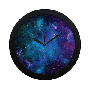 Teal Purple Stardust Galaxy Space Print Black Wall Clock GearFrost