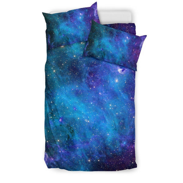 Teal Purple Stardust Galaxy Space Print Duvet Cover
