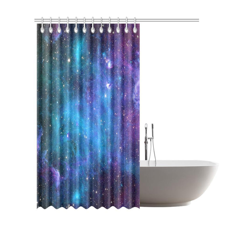 Teal Purple Stardust Galaxy Space Print Extra Long Shower Curtain GearFrost